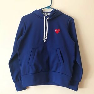 comme des garcons play blue hoodie